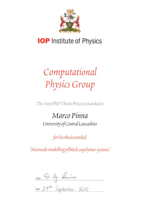 UK best  PhD thesis in Computational Physics – from our group ! (2/4)