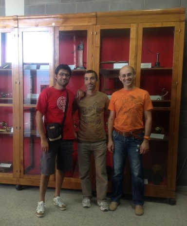Dr Attilio Vargiu (U Cagliari), Marco and Andrei in Physics Museum